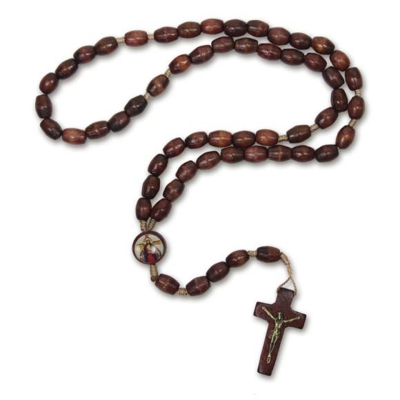 TE942408 - Terço Santa Chagas de Jesus Madeira - 43cm