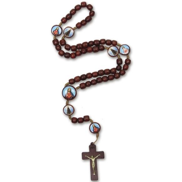 TE9700230 - Terço Sagrado Coração de Jesus e N. Sra. Aparecida Madeira - 37cm