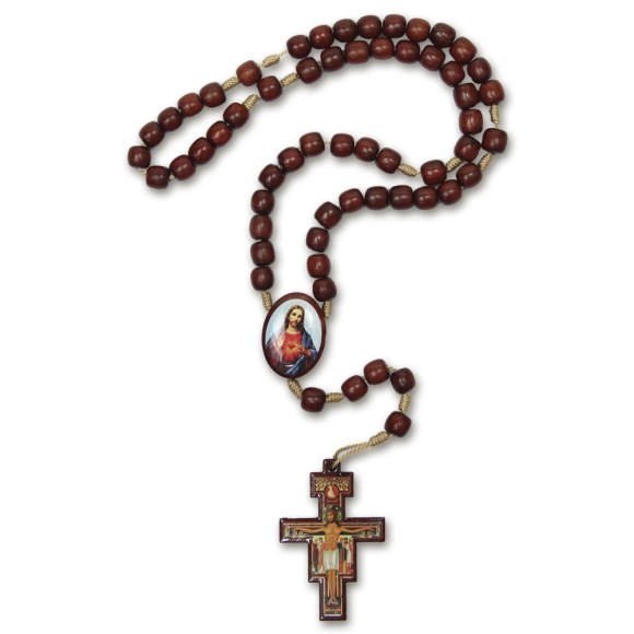 TE9700256 - Terço Sagrado Coração de Jesus e Maria Madeira - 37cm
